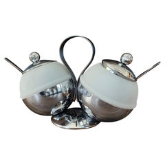 Art Deco Chrome & Glass Double Condiment Server with Spoons by Chase & Co.