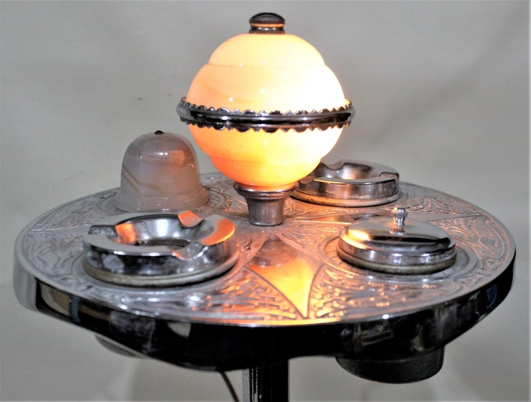 Art Deco Chrome Lighted Smoker's Stand or Ashtray with Electric Lighter For Sale 3