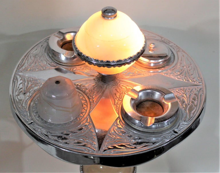 Art Deco Chrome Lighted Smoker's Stand or Ashtray with Electric Lighter For Sale 4