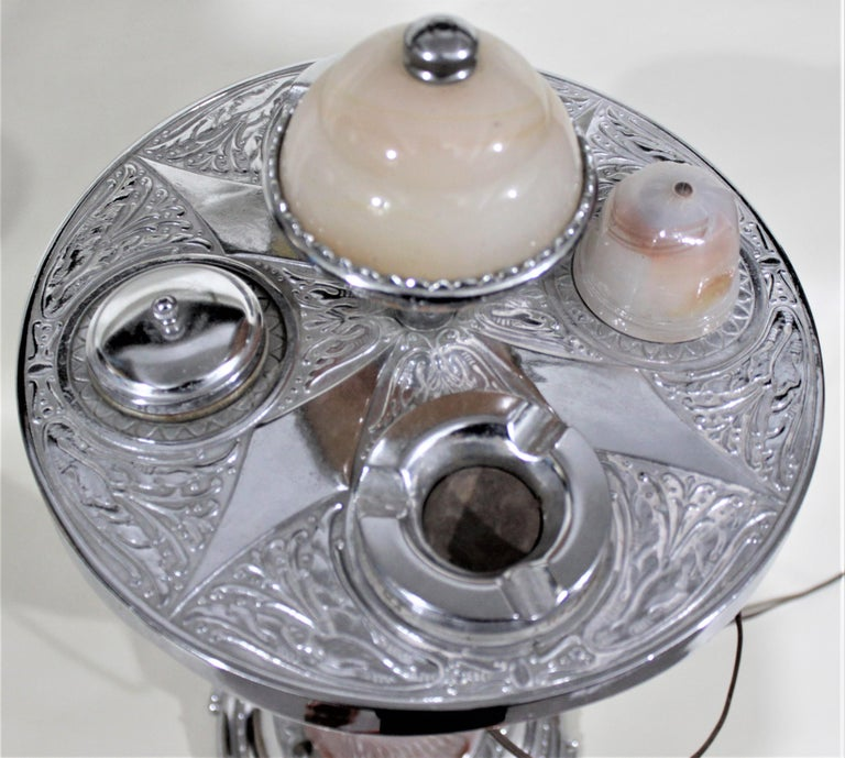 Art Deco Chrome Lighted Smoker's Stand or Ashtray with Electric Lighter For Sale 5