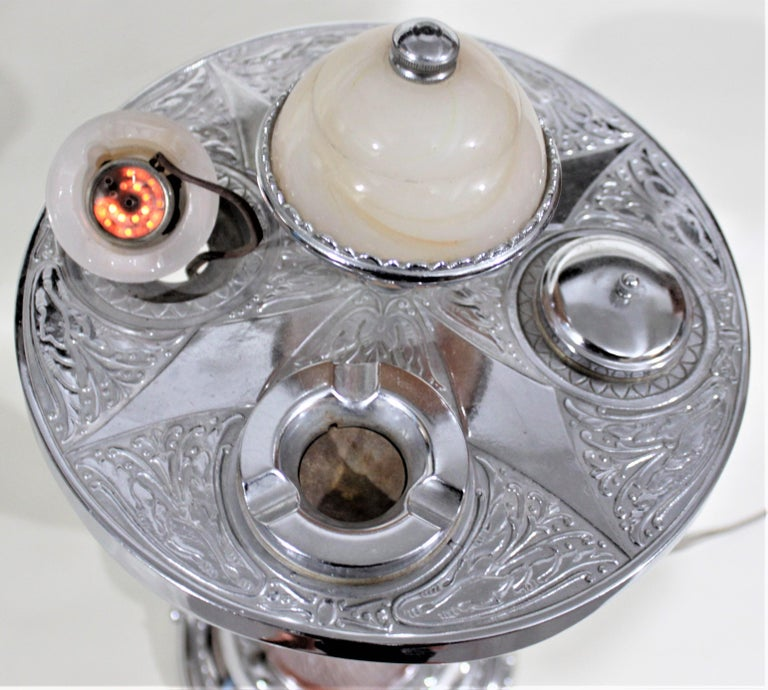 Art Deco Chrome Lighted Smoker's Stand or Ashtray with Electric Lighter For Sale 7