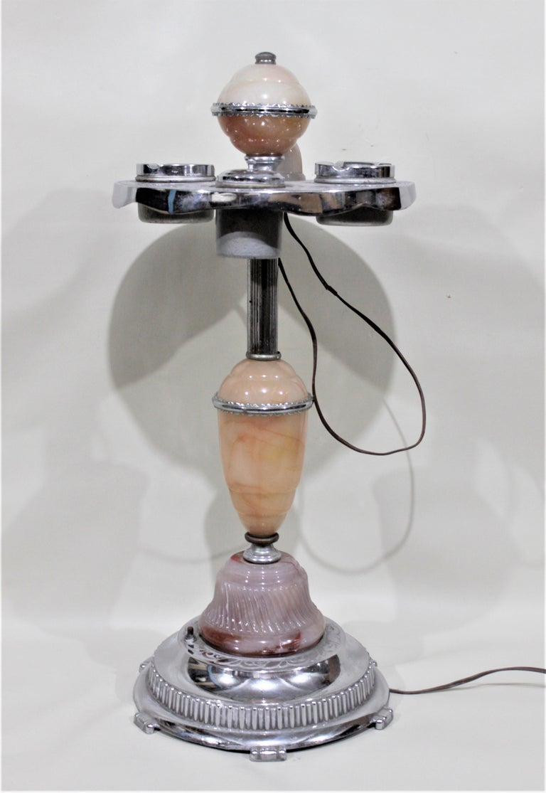 American Art Deco Chrome Lighted Smoker's Stand or Ashtray with Electric Lighter For Sale