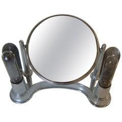 Art Deco Chrome Lightup Vanity Makeup Magnifying Mirror by Bel-Ayre