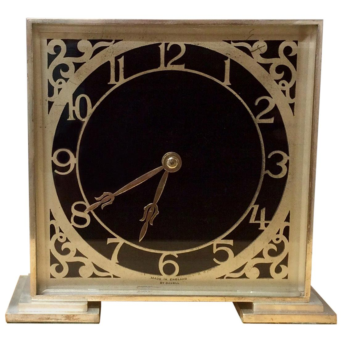 Art Deco Chrome Mantel Clock By Davall England For Sale At 1stdibs