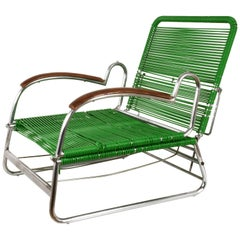 Art Deco Chrome Metal and PVC Green Cord Armchair in Marcel Breuer Style, 1930s