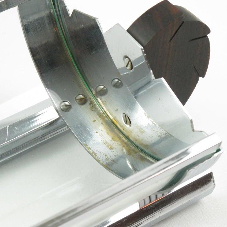 Art Deco Chrome Glass Macassar Wood Centerpiece Bowl Basket For Sale 4