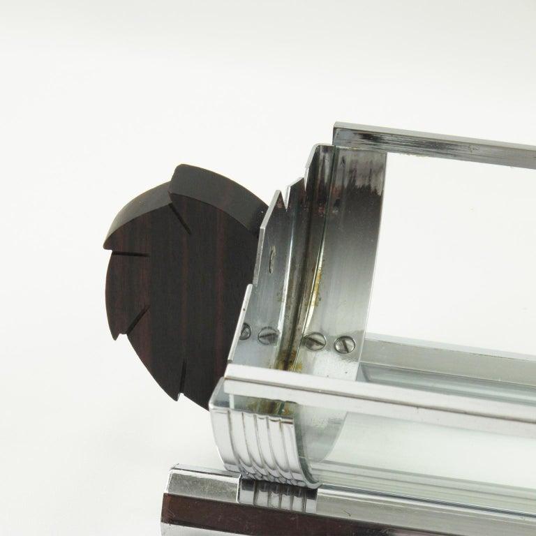 Metal Art Deco Chrome Glass Macassar Wood Centerpiece Bowl Basket For Sale