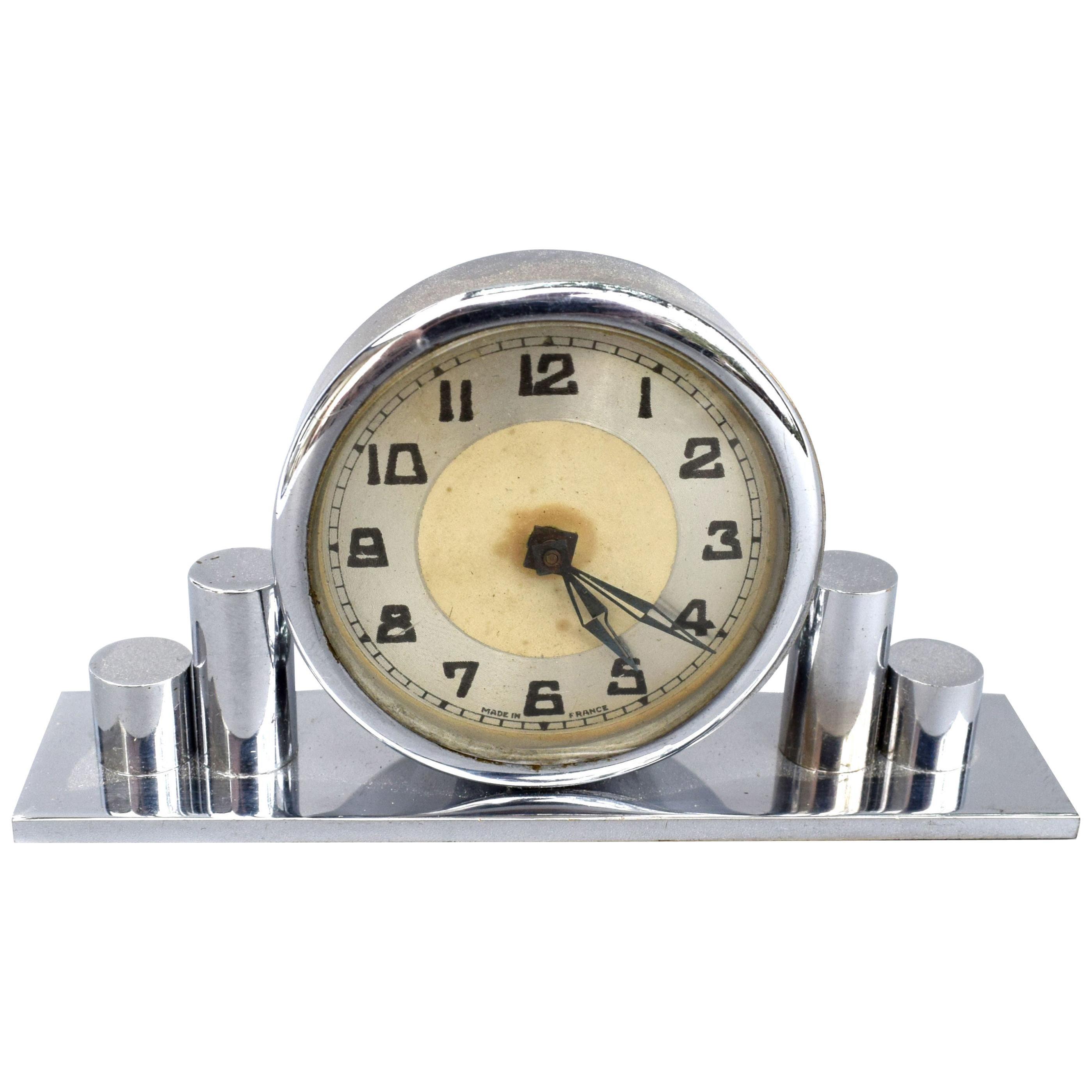 Art Deco Chrome Miniature Clock, 1930s