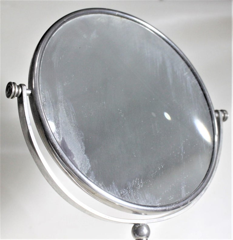 Art Deco Chrome Pedestal Men's or Ladies Shaving Mirror with Brush Holder For Sale 3