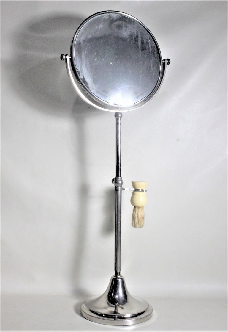 Machine-Made Art Deco Chrome Pedestal Men's or Ladies Shaving Mirror with Brush Holder For Sale