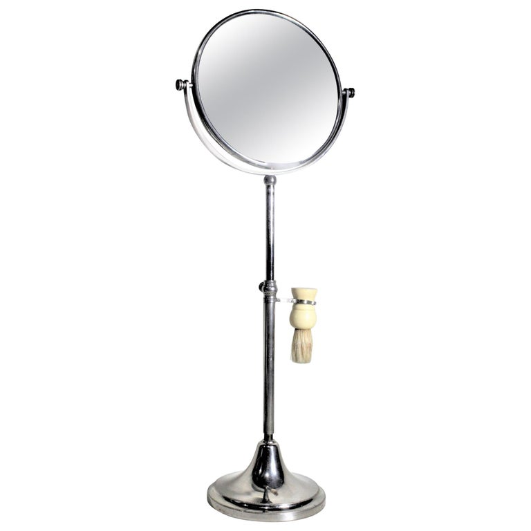 Art Deco Chrome Pedestal Men's or Ladies Shaving Mirror with Brush Holder For Sale