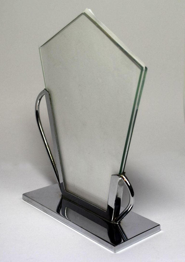 English Art Deco Chrome Picture Frame For Sale