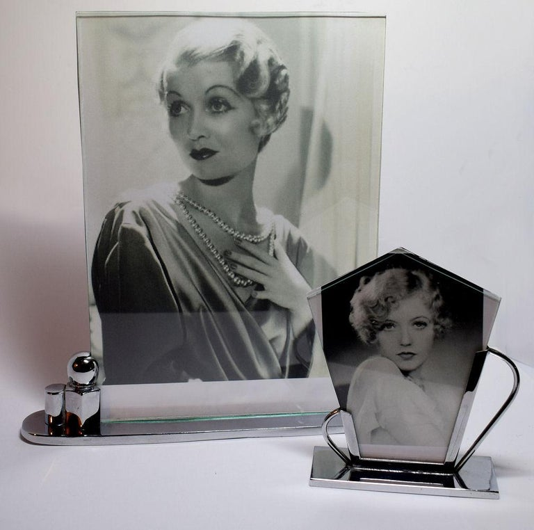Glass Art Deco Chrome Picture Frame For Sale
