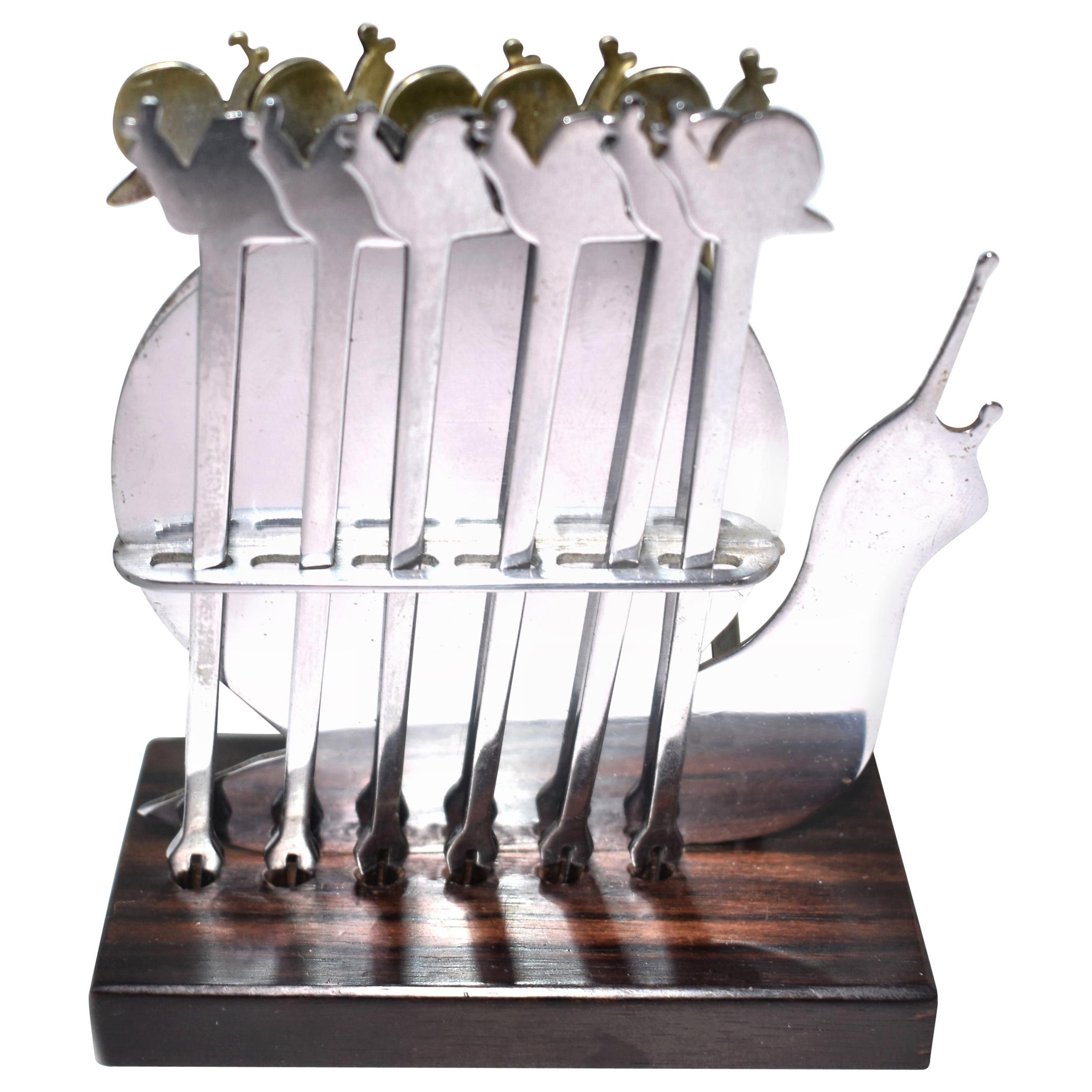 Art Deco Chrome Snail Novelty Cocktail Stick Set