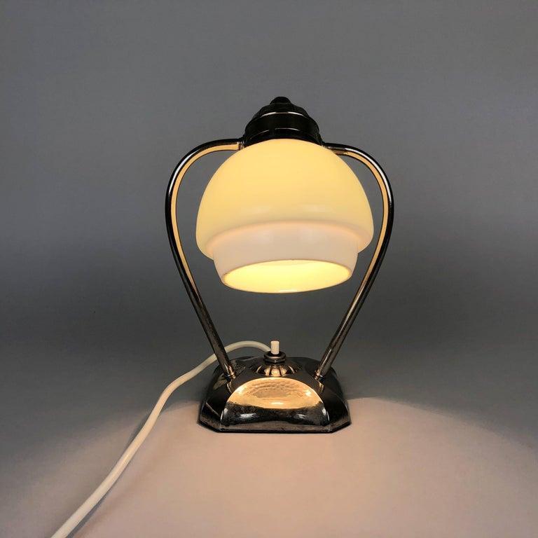 Czech Art Deco Chrome Table Lamp or Lantern, 1930s For Sale