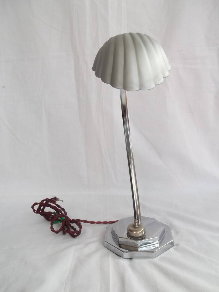 British Art Deco Chrome Table Lamp or Light All Adjustable with Shell Shade, circa 1920s For Sale