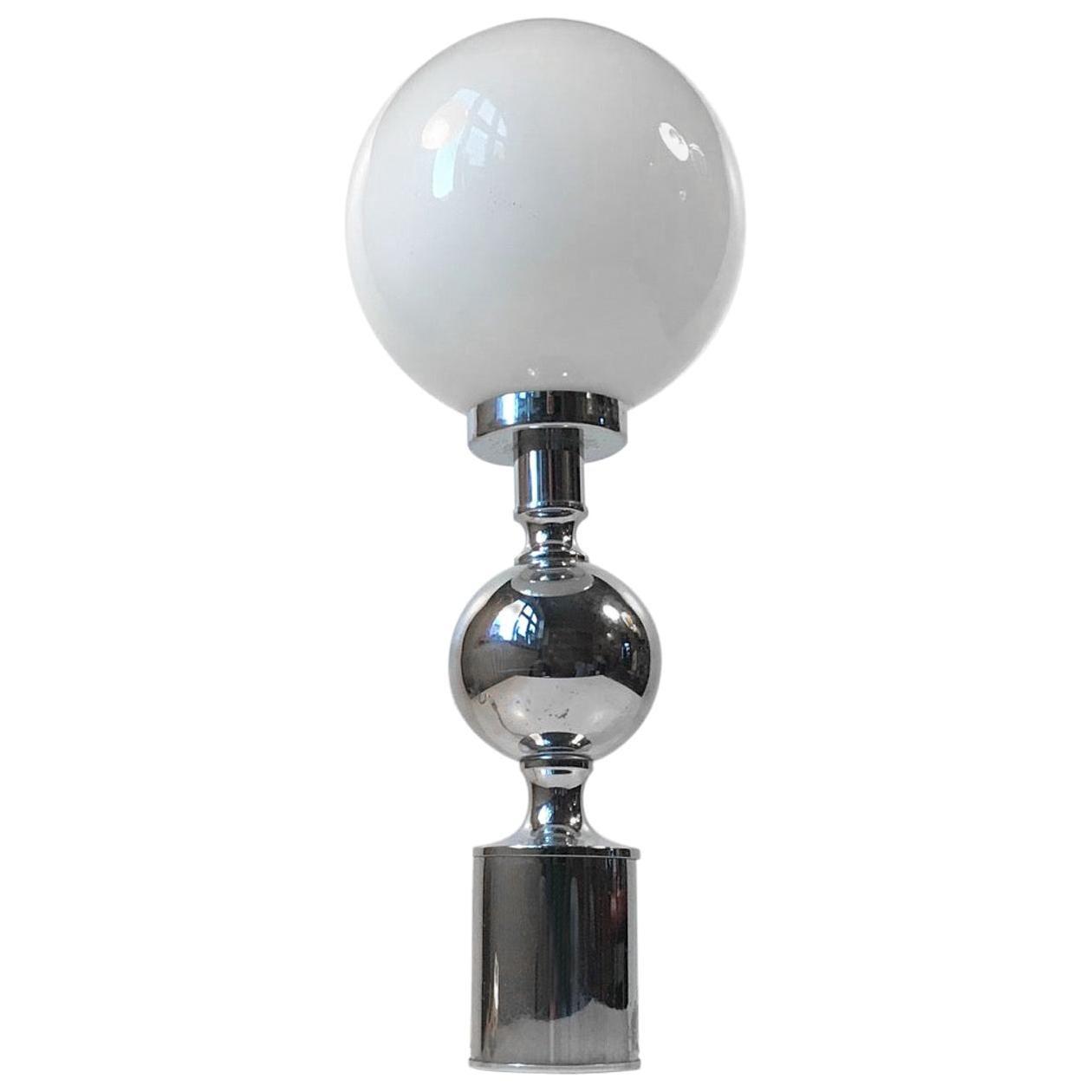 Art Deco Chrome Table Lamp with Sphere by Sölken Leuchten, Germany, 1970s