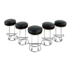 Art Deco Chrome Tube and Leather Bar Stools, Set of 5
