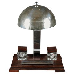 Art Deco Chromed Metal and Makassar Ebony Desk Lamp