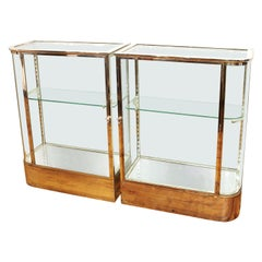Art Deco Chromed Metal Glass Display Cabinets