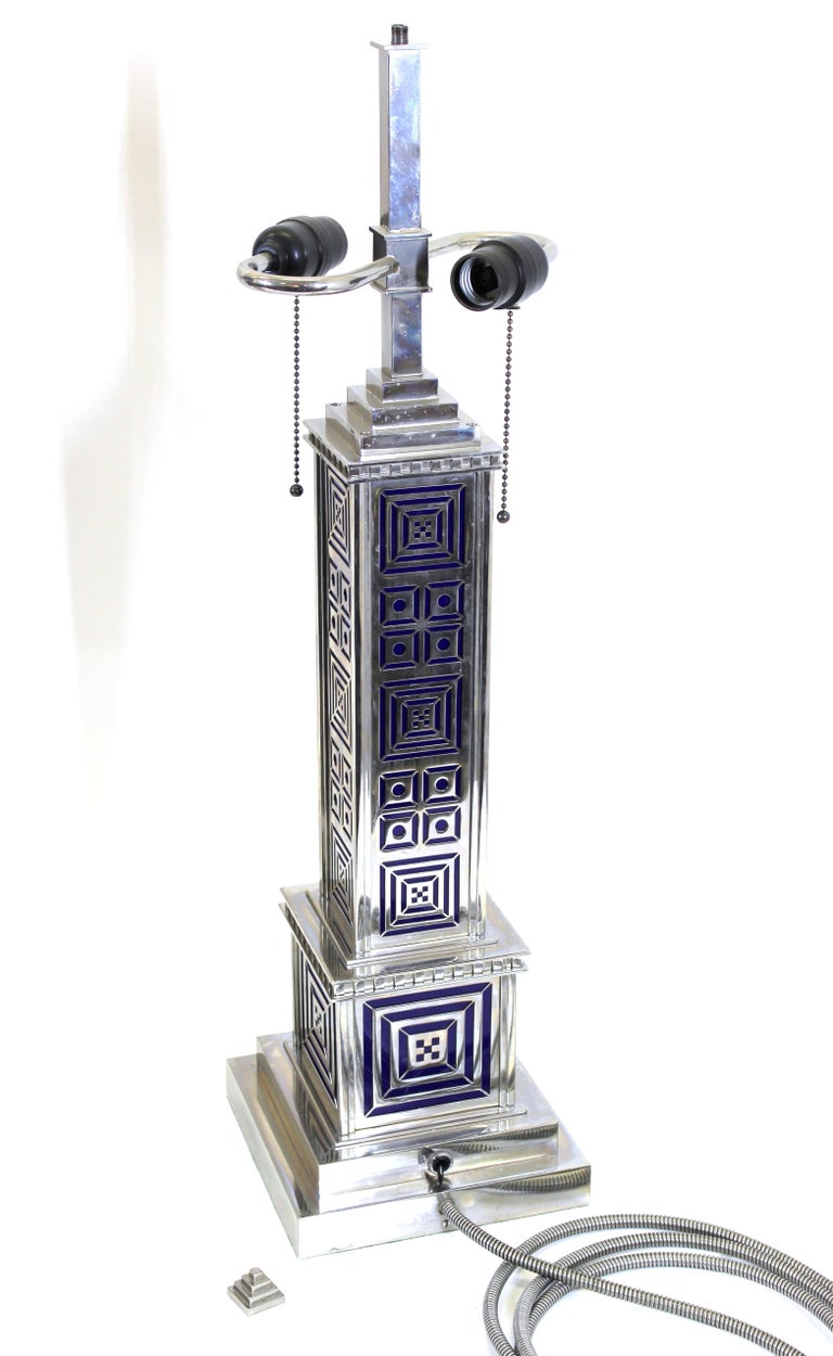 Art Deco Chromed Metal Table Lamps For Sale 9