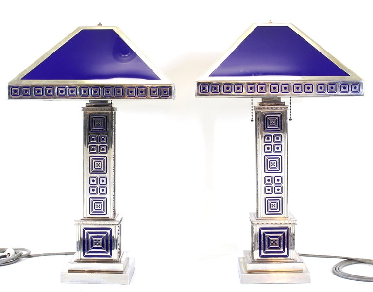 Unknown Art Deco Chromed Metal Table Lamps For Sale