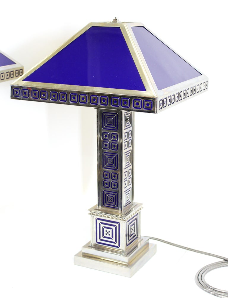 20th Century Art Deco Chromed Metal Table Lamps For Sale