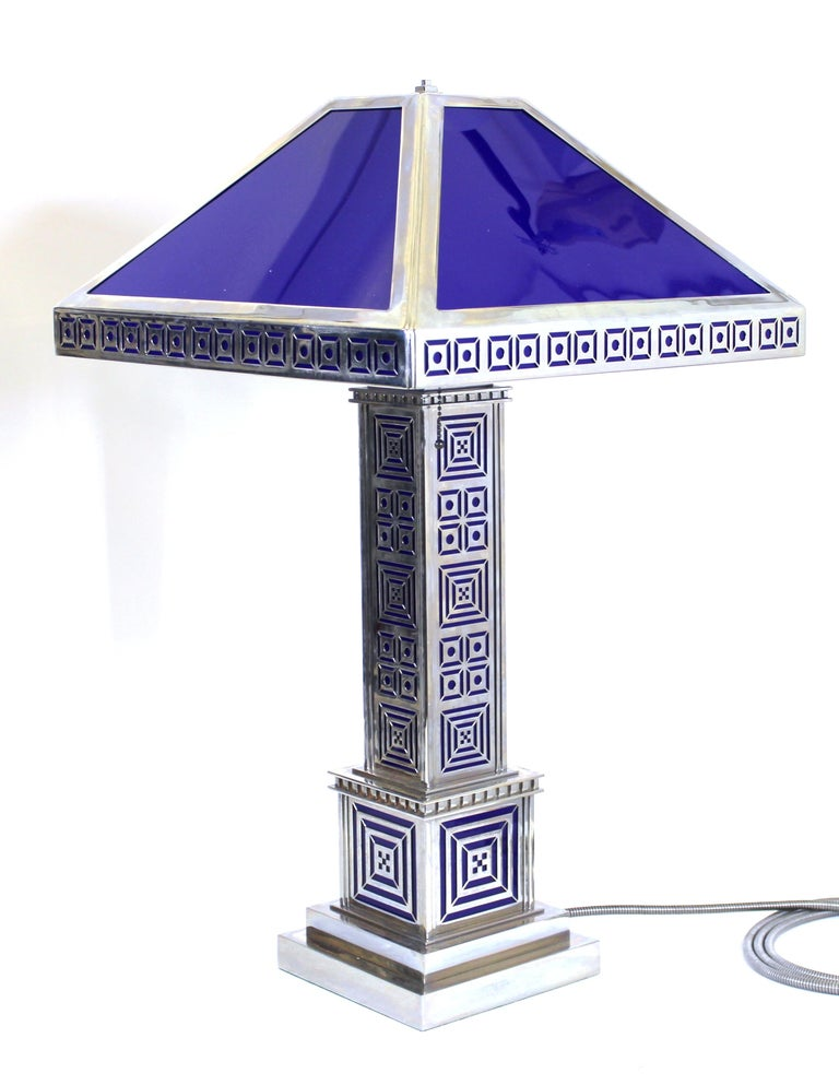 Art Deco Chromed Metal Table Lamps For Sale 1