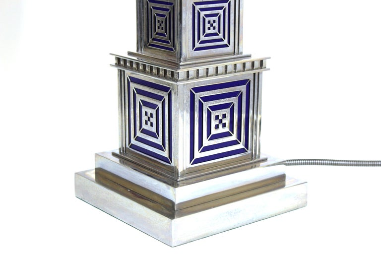 Art Deco Chromed Metal Table Lamps For Sale 4