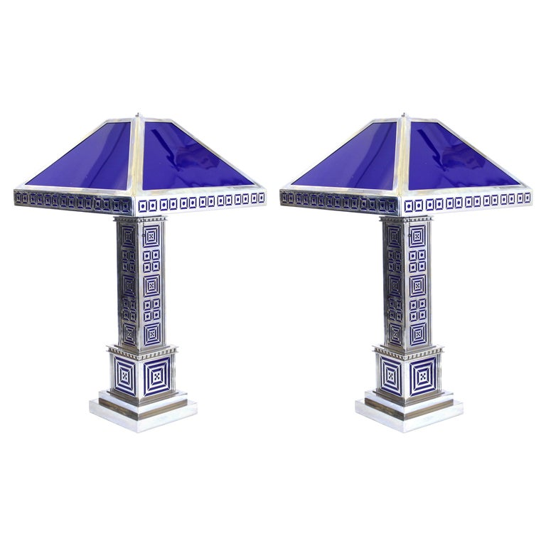 Art Deco Chromed Metal Table Lamps For Sale
