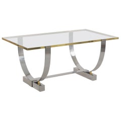 Art Deco Chromed Steel, Brass and Glass Console Table by Donald Deskey