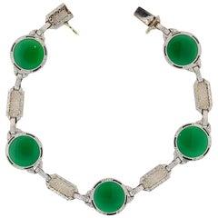 Art Deco Chrysophrase Quartz Bracelet