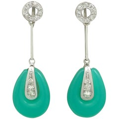 Art Deco Chrysoprase and Diamond White Gold Drop Earrings