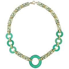 Art Deco Chrysoprase Enamel Gold Necklace