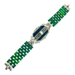Art Deco Chrysoprase, Onyx, Diamond, Pearl Bracelet