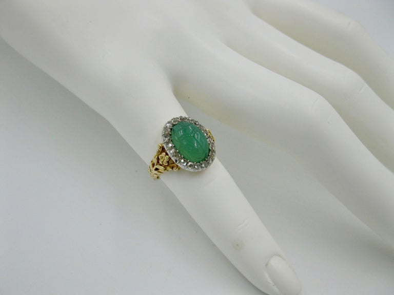 70afb2b54a6be Art Deco Chrysoprase Scarab Rose Cut Diamond Halo Ring Egyptian Revival