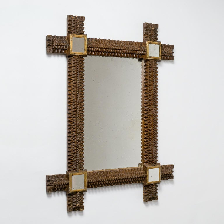 Art Deco Carved Wood Mirror, 1927 For Sale 4
