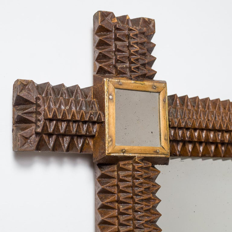 Art Deco Carved Wood Mirror, 1927 In Good Condition For Sale In Vienna, AT
