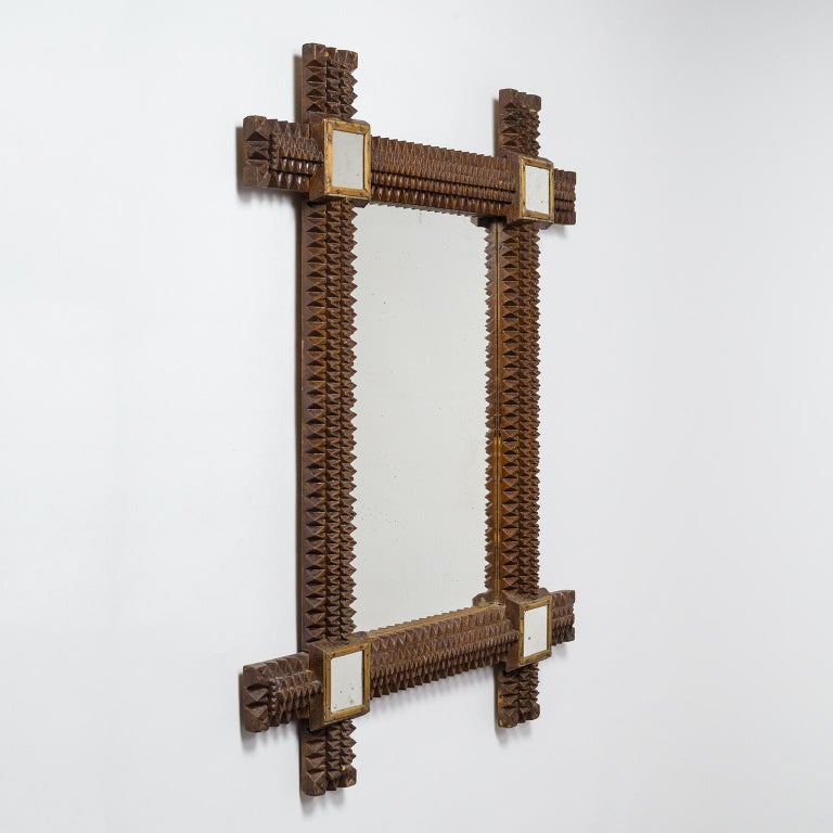 Early 20th Century Art Deco Carved Wood Mirror, 1927 For Sale