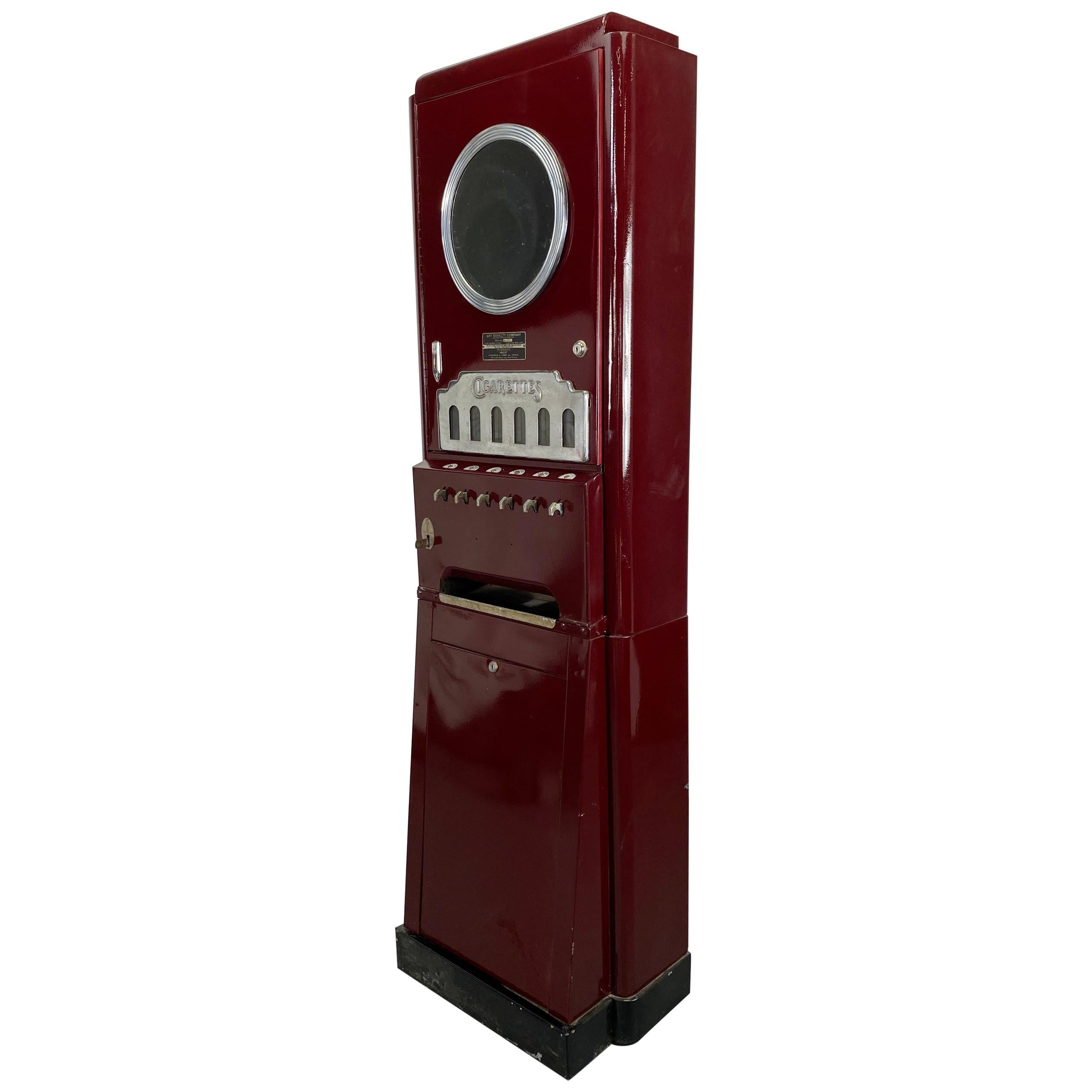 Art Deco Cigarette Vending Machine, Classic Deco Design, Art Novelty Company