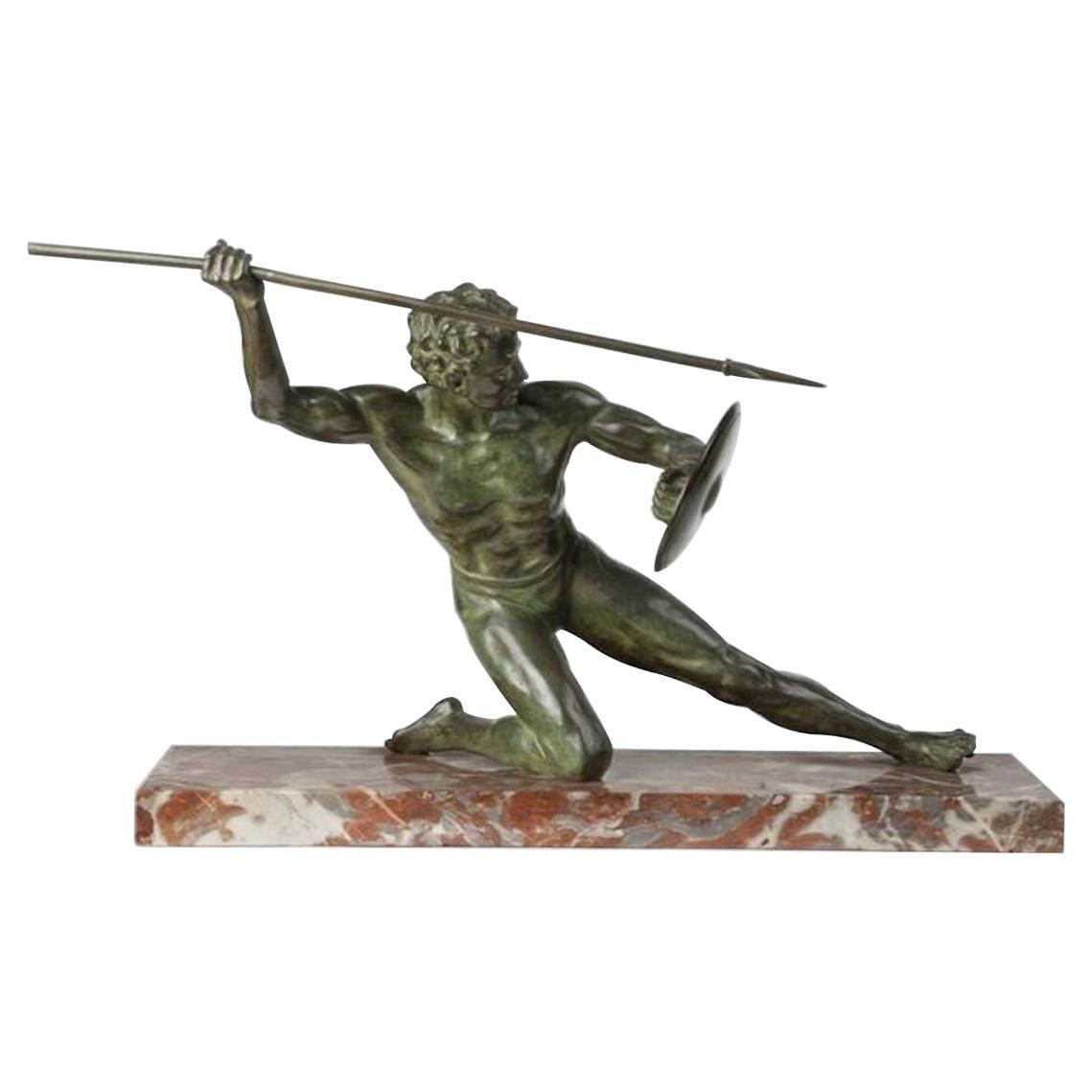 Art Deco Cipriani Bronze Gladiator Sculpture on Marble Base
