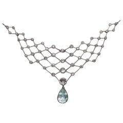 Art Deco circa 1920, 7.13 Ct White Diamond & 6.50 Ct Aquamarine Tiara & Necklace
