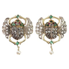 "Art Deco circa 1920 Diamond Emerald Ruby Pearl Gold Earrings ""Egyptian Revival"""