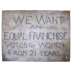 Art Deco circa 1920 Suffragette Political Canvas Banner Sign