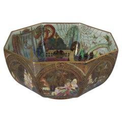 Art Deco circa 1920s Wedgwood Fairyland Lustre Gargoyles Octagonal Bowl