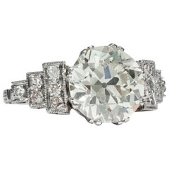 Art Déco circa 1925, Certified 3.99 Carat Diamond Solitaire Engagement Ring