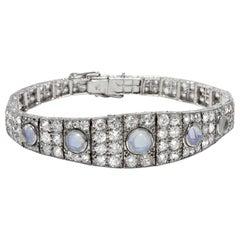 Art Deco circa 1928 Certified 8.26 Carat Diamond and Moonstone Platinum Bracelet