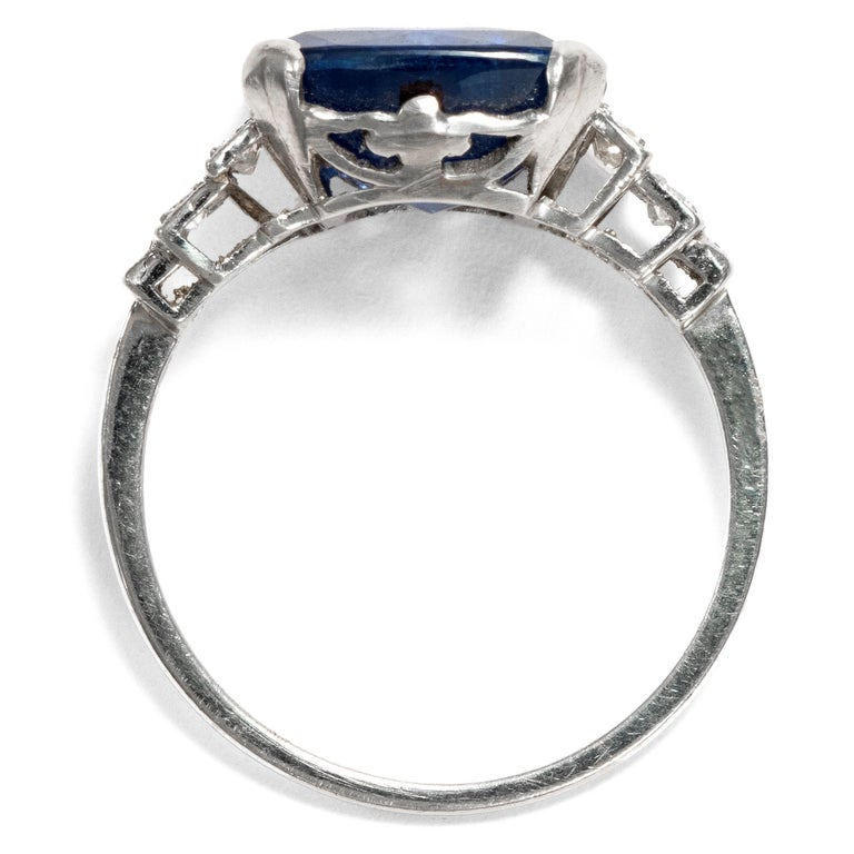 Art Déco  8.20 Carat Natural Blue Sapphire Diamond Platinum Cocktail Ring For Sale 1