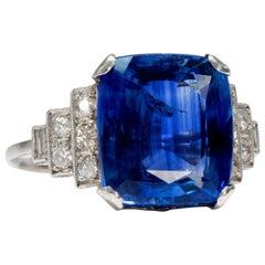 Art Déco  8.20 Carat Natural Blue Sapphire Diamond Platinum Cocktail Ring