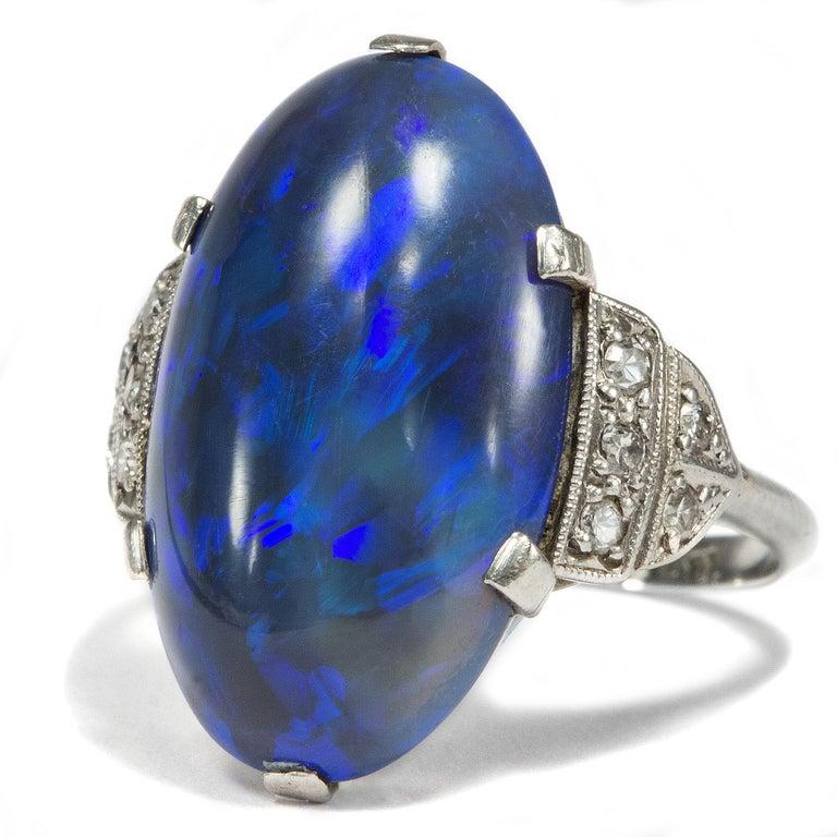 Oval Cut Art Deco circa 1930, Black Opal and Diamond Platinum 18 Karat Gold Cocktail Ring For Sale